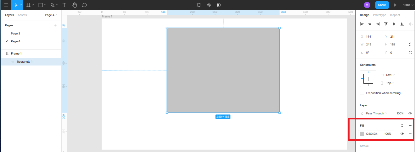 панель управления цветом в Figma