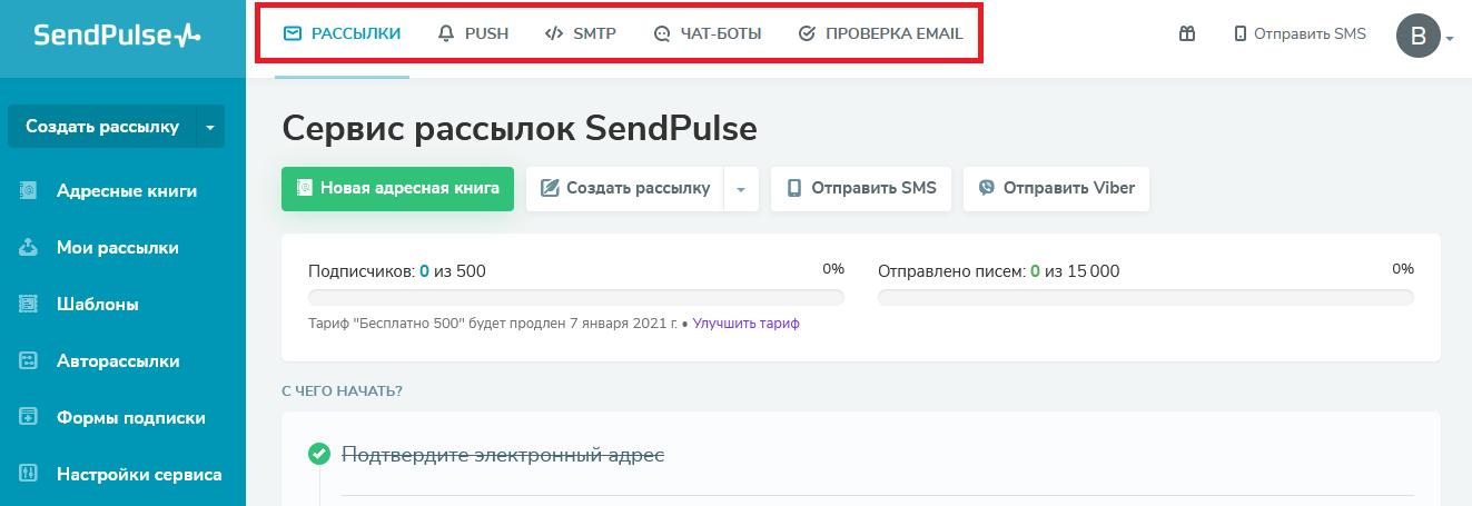 Возможности рассылки в SendPulse