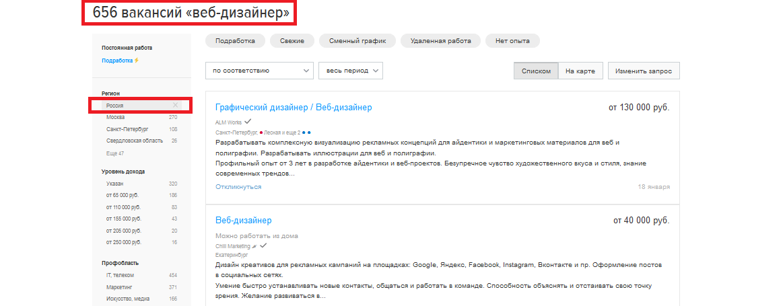вакансии веб-дизайнер в России