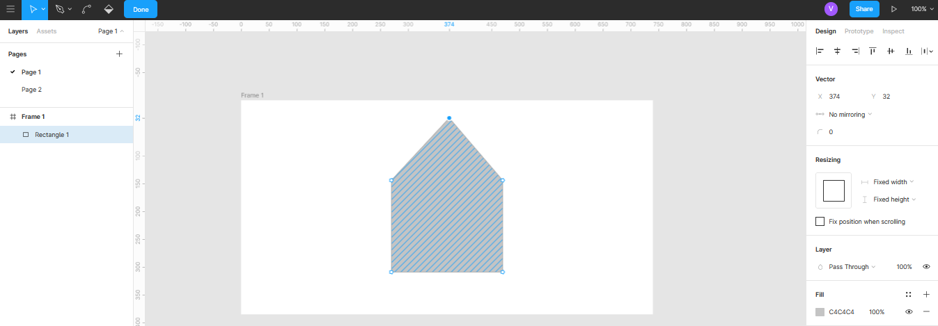 изменение объектов при помощи точек в Figma