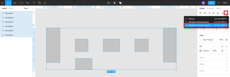 умное выравнивание объектов по горизонтали в Figma