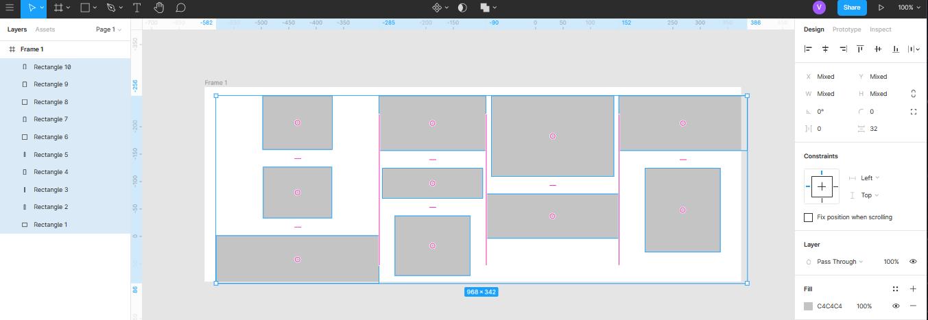 автоматическое равномерное распределение объектов в Figma