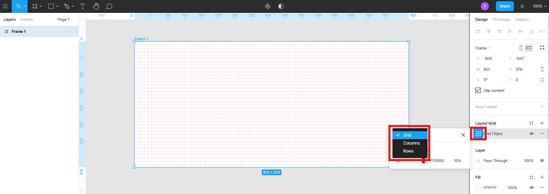 добавление колонок в сетку в Figma