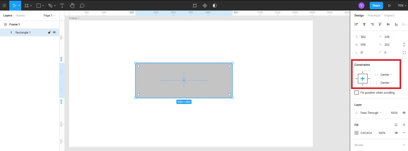 позиционирование объекта по центру фрейма в Figma