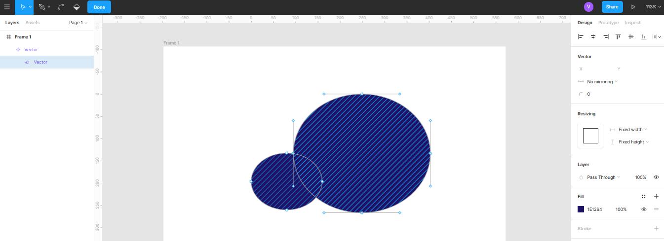 Редактирование объекта при помощи кривых линий в Figma