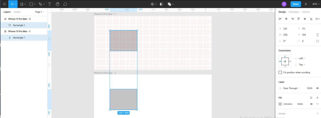 влияние сетки на позиционирование объекта в Figma