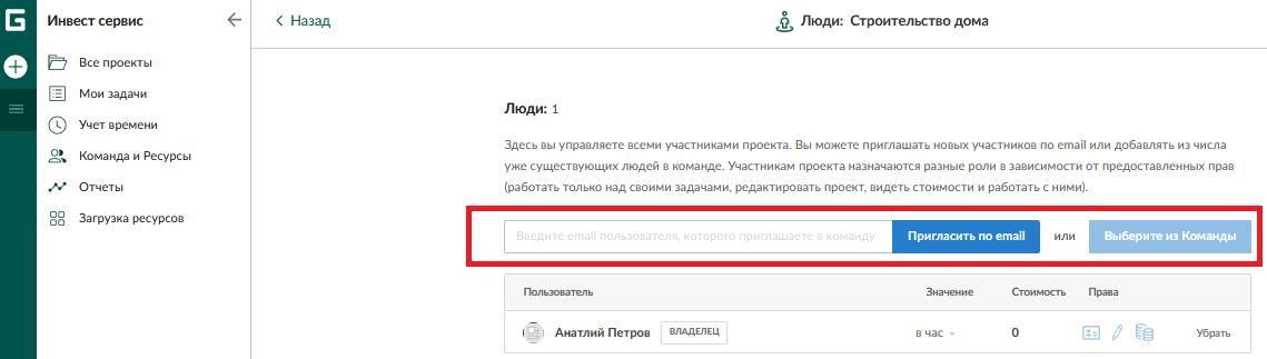 Добавление новых сотрудников по электронной почте в Ganttpro