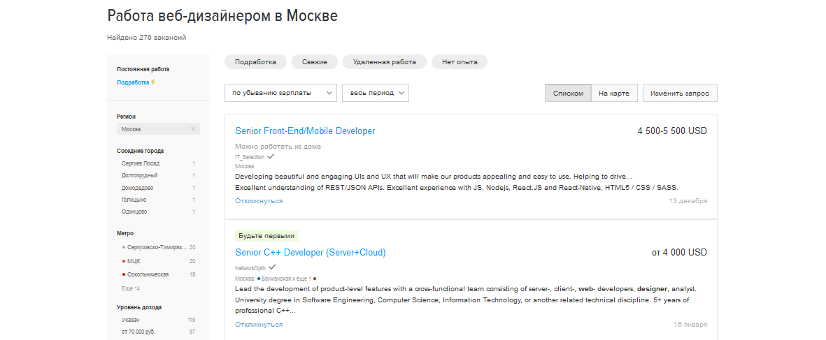 Зарплата веб-дизайнера в Москве