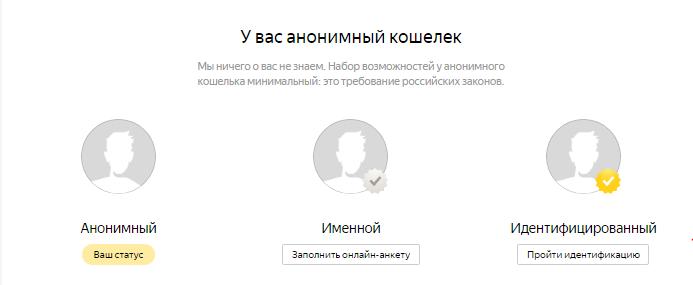 Типы статусов на «Яндекс Деньгах»