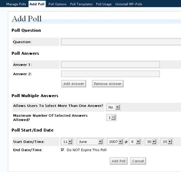 Во вкладке «Add Poll» Создайте опрос: напишите вопрос, укажите варианты ответов, отредактируйте опцию выбора нескольких ответов, задайте дату старта и завершения голосования