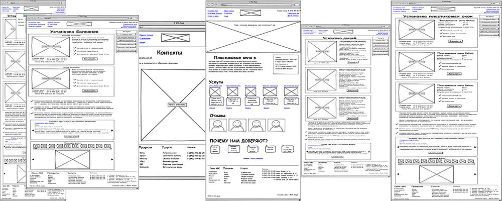 Схематичная структура страниц сайта