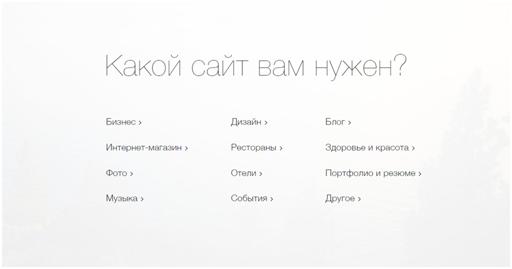 Выбор типа сайта